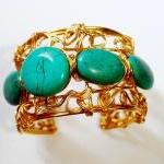 Wire wrapped cuff bracelet made wit..
