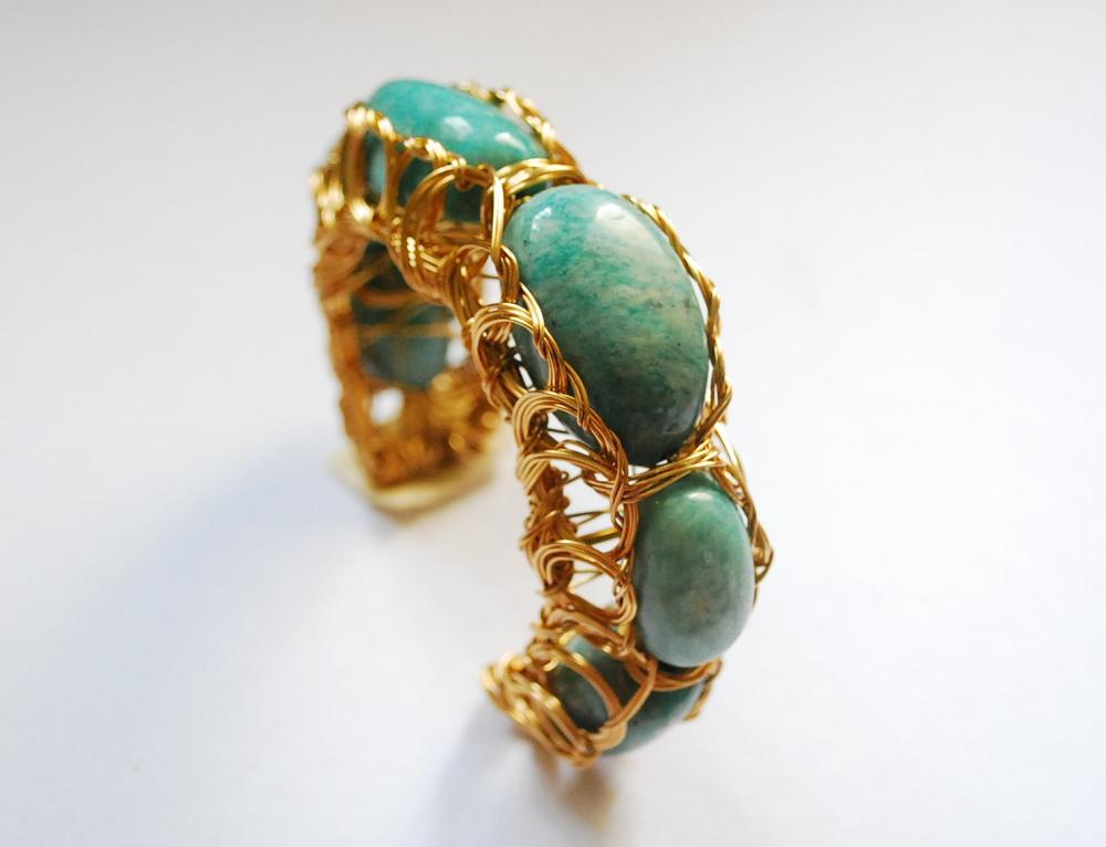 Amazonite Wire Wrapped Bracelet Cuff