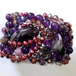 Beaded cuff bracelet made with Amethyst gemstones, fresh water pearls and crystals